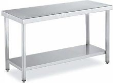 QDM Tables de travail inox centrale avec étagère