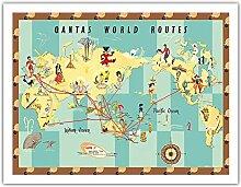 QEA (Qantas Empire Airways) - Carte du Monde -