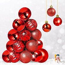 Qhui Boules De Noël Rouge, 34PCS Décoration
