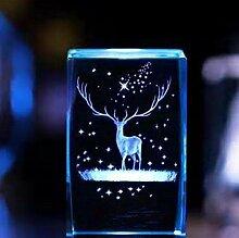 qianyue 3D Cristal Wapiti Ball Figurine Feng Shui
