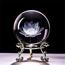 qianyue Boule de Cristal de Fleur de Lotus gravée