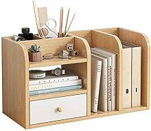 QIAOLI Bibliothèque de bureau en bois avec tiroir