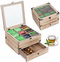 QILICZ Boîte à thé en bois avec 9 compartiments