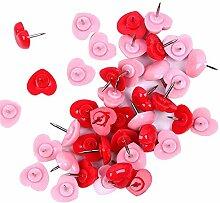 Qinlee 50pcs Office Punaise Forme de Coeur Rouge
