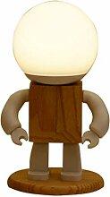 Qirun Lampe de Table de Bureau Robot en Bois