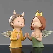 QQJJSUDIW Amoureux Ange Art Sculpture Livre Fille