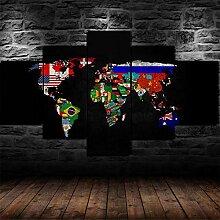 QQQAA Multi Panneau 5 Parties Tableaux Murale
