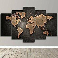 QQWW Impression sur Toile 5 Pieces Carte du Monde