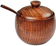 QSDGFH Lot de 2 pots à épices en bois massif