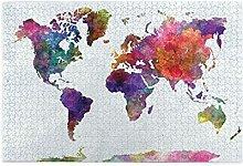 Qtchenglj Puzzle de 1000 pièces,Carte du Monde