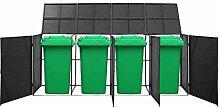 Quadruplo Cache-poubelle en polyrotin, 305 x 78 x