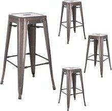 Quatuor de tabourets de bar métal argent - vassia