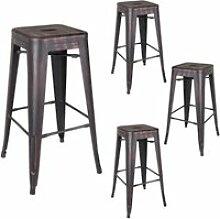 Quatuor de tabourets de bar métal noir vieilli -