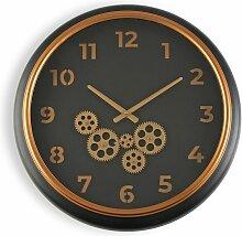 Queensland Horloge murale, 52x7x52cm - Noir - Versa