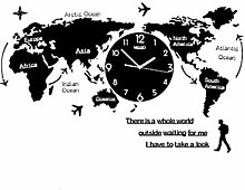 qwertyu Horloge murale avec carte du monde