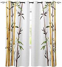 QWFDAQ 2 Rideaux Occultants Complet Bambou Vert
