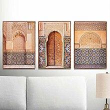 QZROOM Arche Marocaine Vieille Porte Toile