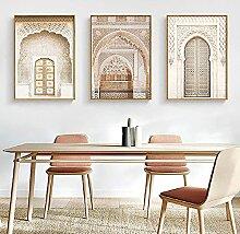 QZROOM Beige Bohème Islamique Wall Art Imprimer