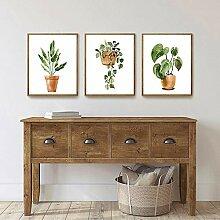 QZROOM Botanique Toile Art Peinture Vintage