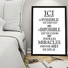 QZROOM Français Inspiration Citation Toile Art
