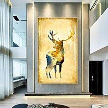 QZROOM Moderne Or Wapiti cerf Peinture à
