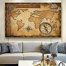 QZROOM Vintage Carte du Monde Toile Peinture