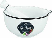 R2S 1607KIBK Mortier et Pilon, Porcelaine, Blanc,