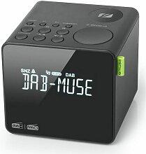 radio-réveil double alarme noir - m187cdb - Muse