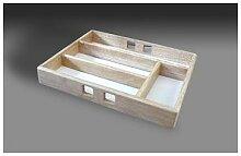 Range-couverts 4 compartiments en bois