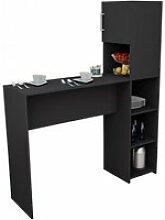 Rangement de cuisine et table noirs