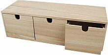 Rayher 6190300 Coffre en bois avec 3 tiroirs,