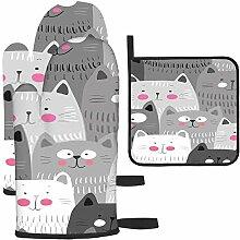 Rcdeey Les gants de cuisine et maniques de chats
