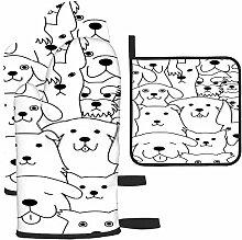 Rcdeey Les gants de cuisine et maniques Doodle