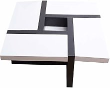 Rebecca Mobili Table Basse de Salon, Blanc Noir,