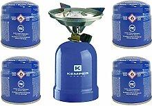 Réchaud à gaz Kemper métal + 4 cartouches de