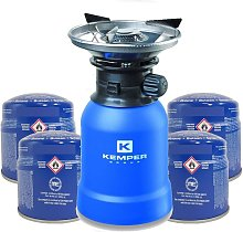 Rechaud gaz piezo + 4 Cartouches Rechaud a gaz