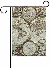 REFFW Terre Ancienne Carte du Monde Cercle Vintage