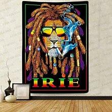 Reggae Rasta Lion nappe Irie Hippie Art couverture