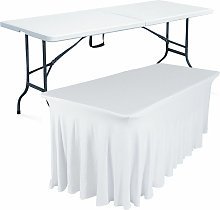 Rekkem - Table pliante 180 cm et nappe blanche