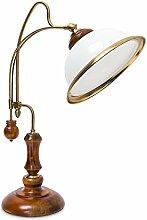 Relaxdays 10018992 Lampe de Table Verre Bois Verni