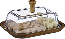 Relaxdays 10036751 Cloche à Fromage, Bois, Verre,