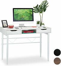 Relaxdays - Bureau avec tiroirs et étagère,