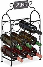 Relaxdays casier à vin, 9 Bouteilles, étagère