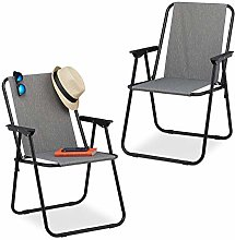 Relaxdays Chaise de Camping Set de 2, fauteuils