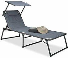 Relaxdays Chaise longue transat pare-soleil