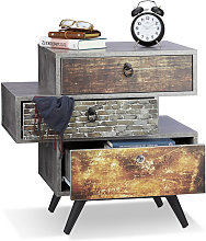 Relaxdays - Commode vintage avec 3 tiroirs look