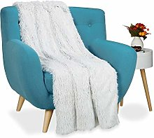 Relaxdays Couverture fausse fourrure moelleux