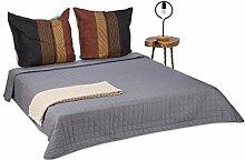 Relaxdays Dessus de lit gris couvre-lit matelassé