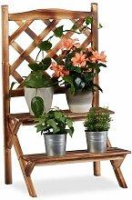 Relaxdays Etagère à fleurs Treillis bois