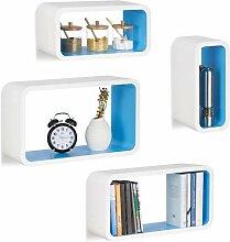 Relaxdays Étagère flottante murale 4 cubes